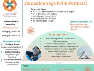 12 jours de formation Yoga Pré & Postnatal. De novembre 2021 à mars 2022.
