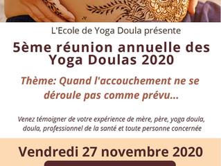 Réunion annuelle de l'école de Yoga Doula le 27 novembre 2020