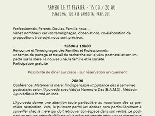 Invitation : Rencontre annuelle du Réseau de soutien Postnatal à Paris et Conférence sur l'Ayurv