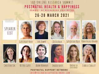 Programme du Sommet en ligne - Réseau Post-natal Support Network - du 26 au 28 mars 2021.