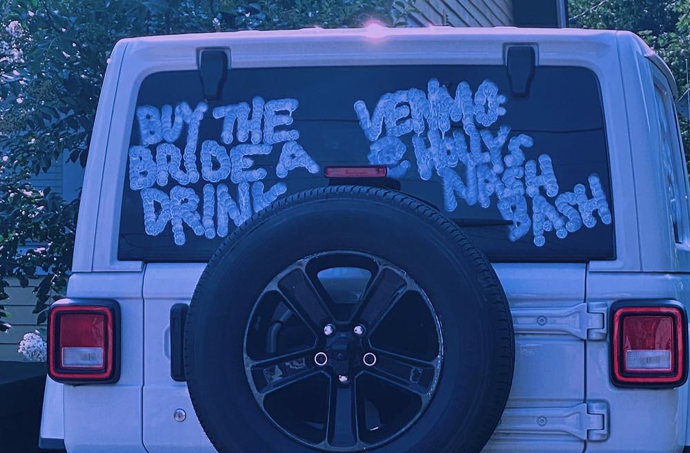 White Jeep with bachelorette venmo in bubble letters