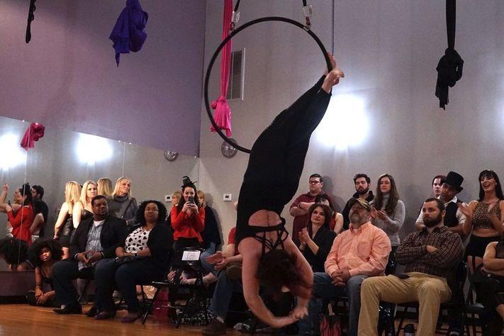 Aerial hoop trick