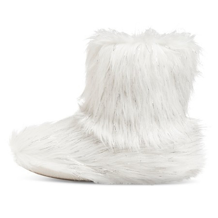 white, fuzzy slipper