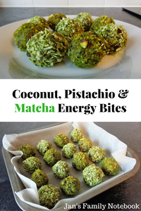 Coconut, pistachio, and matcha bites