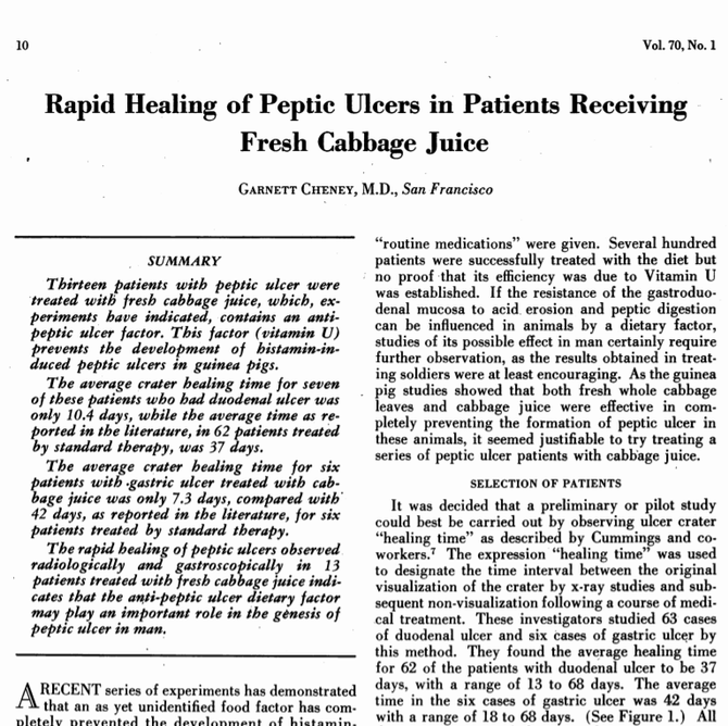 Studies from the 1950's - cabbage juice and peptic ulcers