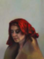 Portrait,Rachel in a Torn Red Scarf