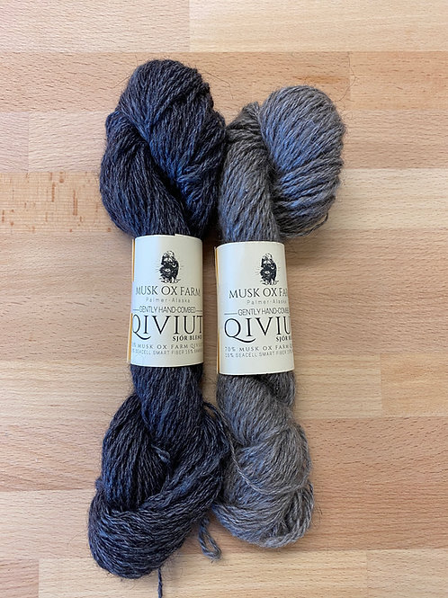 70% Qiviut 15% Seacell 15% Bamboo Skeins