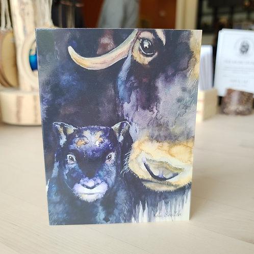 Watercolor Mom & Calf Card