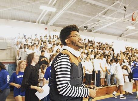 Inspirational Speaker, Austin Franklin, inspires students at Stanton College Preparatory School.