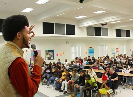 CEO & Inspirational Speaker Austin Franklin inspires students at Oakleaf High School. Tour stop #9.