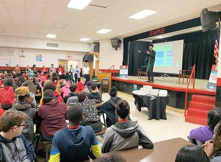 Austin Franklin, CEO & Speaker, motivates students in Lakeland at Southwest MS.
