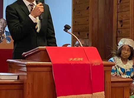 Austin Franklin, keynote speaker, at Philadelphia Missionary Baptist Church for Black History Month