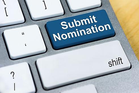 Written word Submit Nomination on blue k
