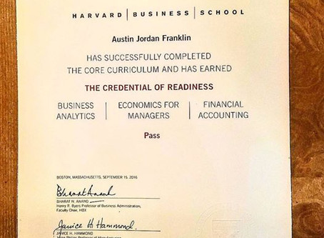 Austin Franklin, CEO of Good-Natured Life receives his HBX CORe Credential from Harvard Business Sch