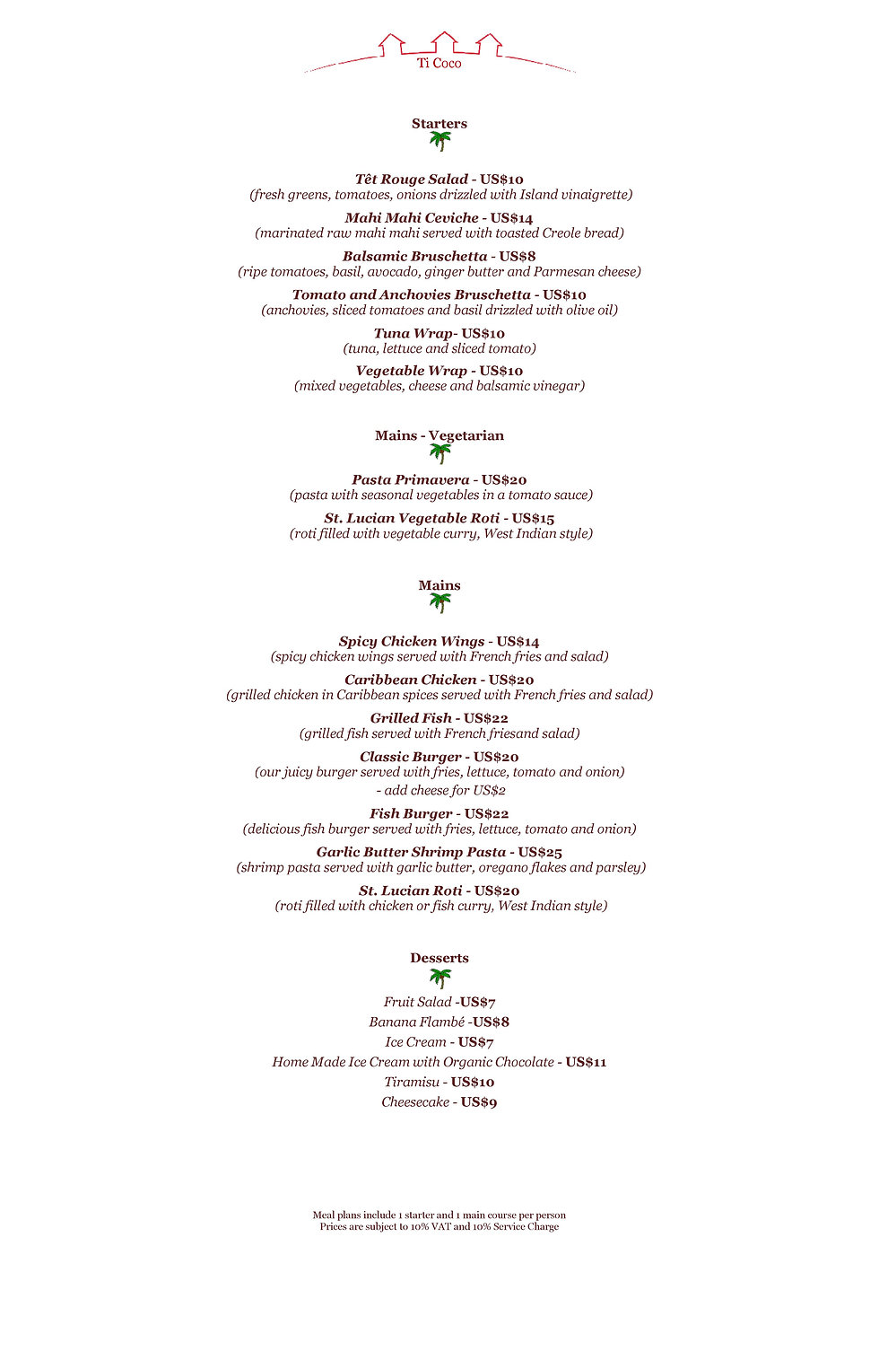 Ti Coco Lunch Menu at Tet Rouge Resort St. Lucia