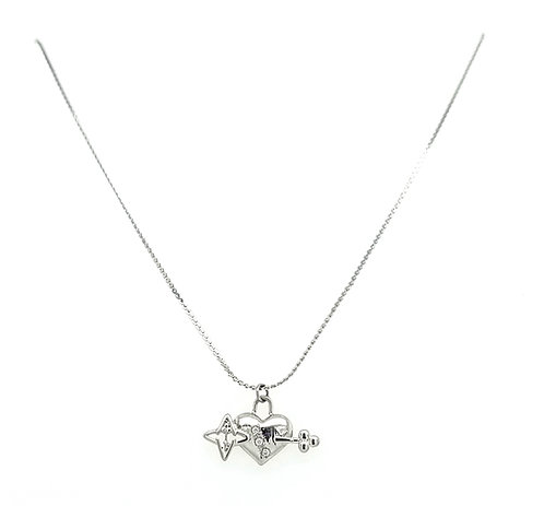 Key to My Heart Light of My Life Necklace Silver Tone