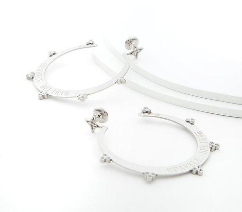 Sparkle Believe Large Hoop Earrings Silver Tone
