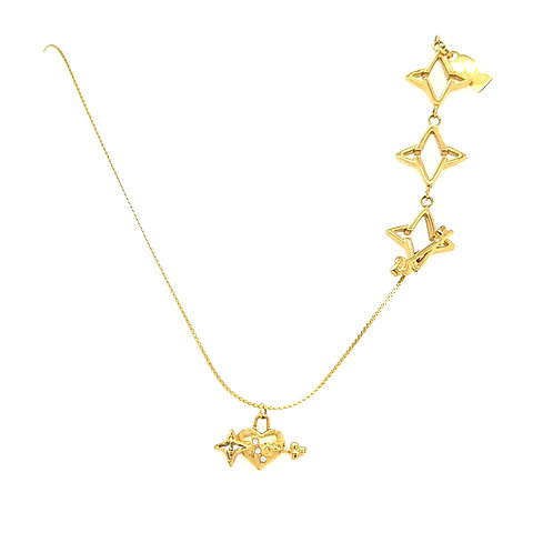 Key to My Heart Light of My Life Necklace Gold Tone