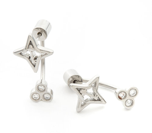 Guiding Star Silver Tone Studs Earrings