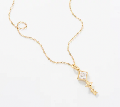 Key to Light Necklace, Gold Tone