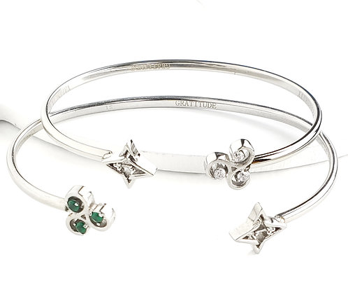 2 Gratitude Bracelets- Set Silver Tone/ Green & White Stone