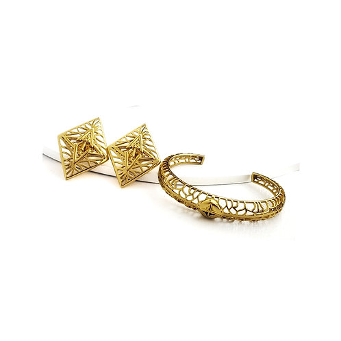 Rooted Statement Earrings & Bracelet Set Gold Tone