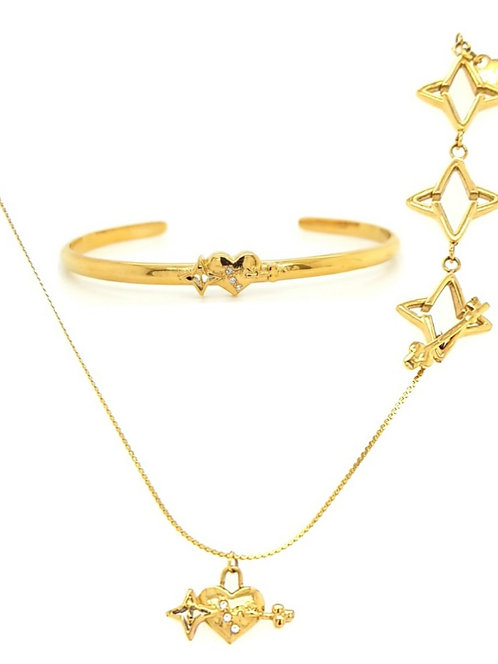 LIVE SALE Key to my Heart Light of my Life Set Gold Tone