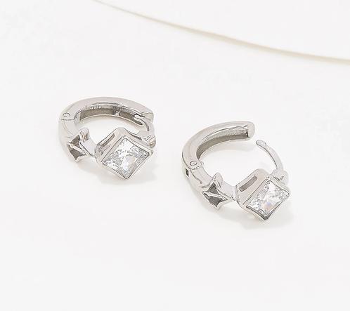 Key to Light Huggie Hoop Earrings, Silver Tone