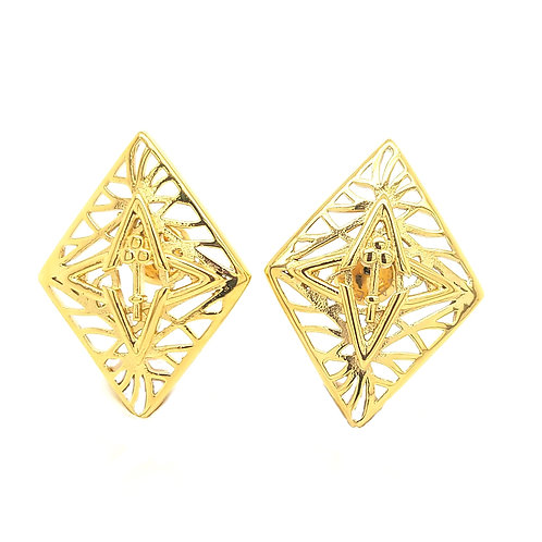 Rooted Statement Size Stud Earrings  Gold