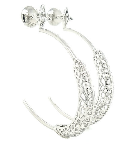 Rooted Hoops Earrings Silver Tone (Super Light Weight)