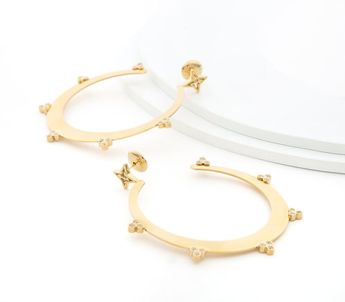 LIVE SALE Sparkle Believe Large Hoop Earrings Gold Tone