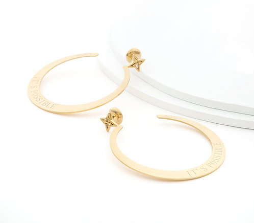 "It's Possible 3"" Large Hoop Earrings Gold Tone"
