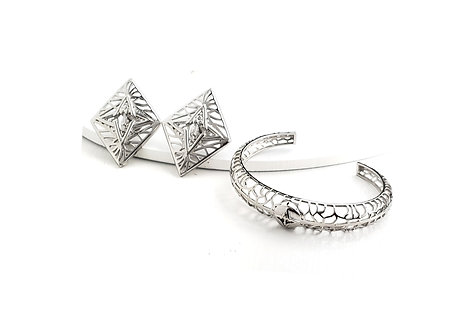Rooted Statement Earrings & Bracelet Set Silver Tone