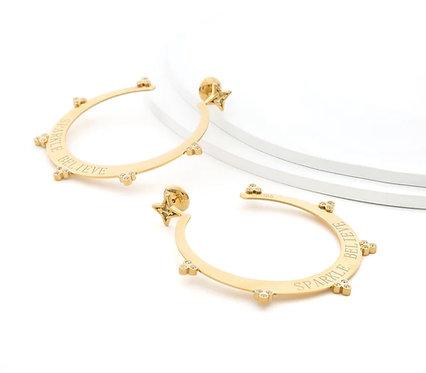 Sparkle Believe Large Hoop Earrings Gold Tone