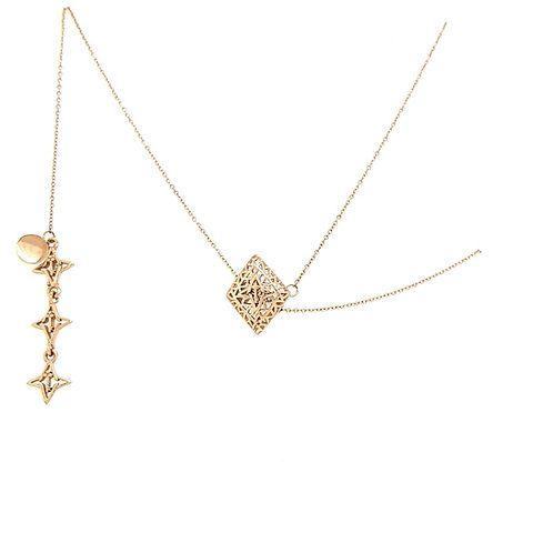Rooted Adjustable Lariat Necklace Rose Gold Tone