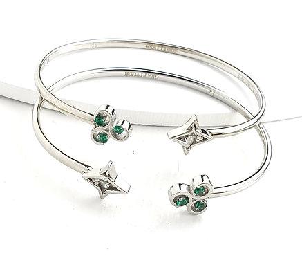 2 Gratitude Bracelets - Set Silver Tone/ Green Stones