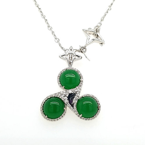 Synergy Necklace Malaysian Jade Stone, Silver Tone