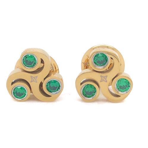 Gratitude Stud Earrings - Gold Green Stone