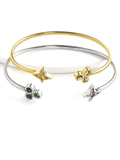 2 Gratitude Bracelets- Set Silver Tone/ Green Stone * Gold Tone/ White Stones