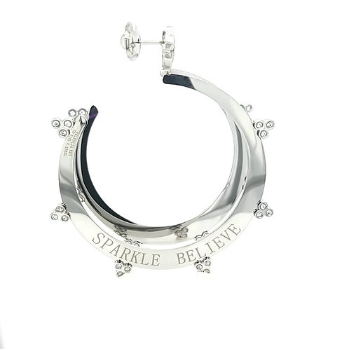Sparkle Believe Large Hoops Silver Tone