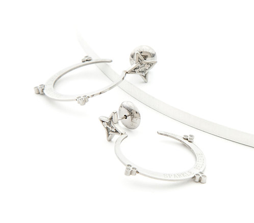 Sparkle Believe Small Hoop Earrings Silver Tone