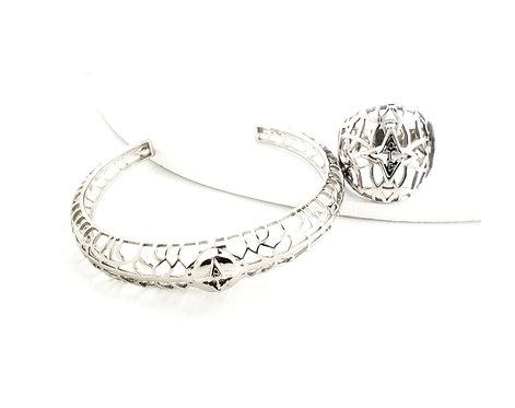 Rooted Ring & Bracelet Set Silver