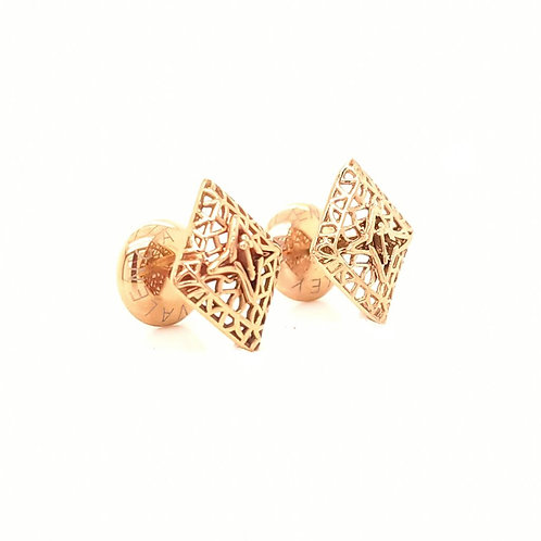 Rooted Stud Earrings Rose Gold Tone