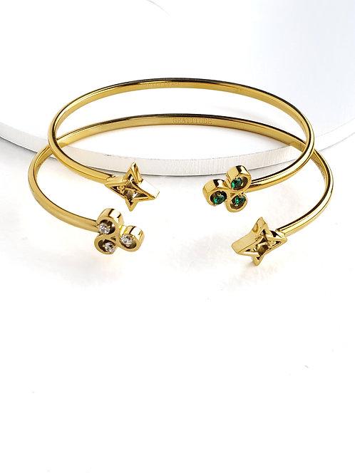 2 Gratitude Bracelets- Gold Tone/ Green & WhiteStones
