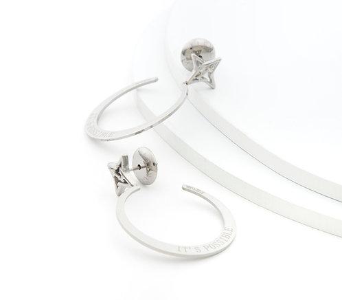 It's Possible Small Hoop Earrings Silver Tone
