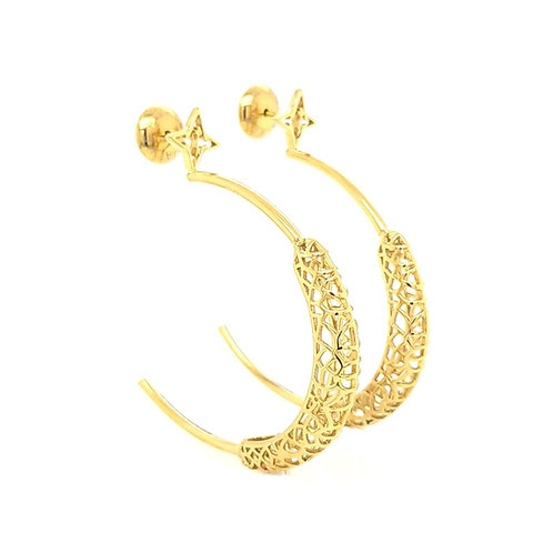 Rooted Hoops Earrings Gold Tone Super Light Weight