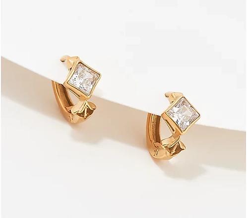 Key to Light Huggie Hoop Earrings, Gold tone