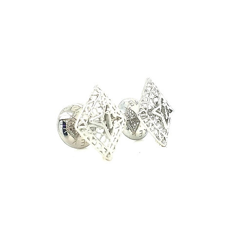 Rooted Stud Earrings Silver Tone