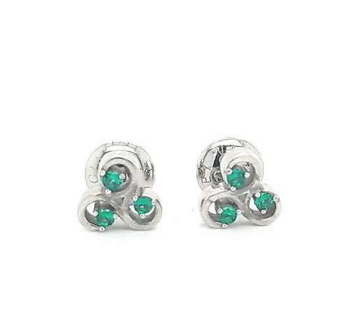 All Things Are Possible Studs Earrings Silver Tone Green Stones