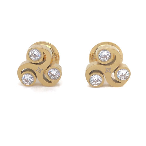Gratitude Stud  Stud Earrings Gold Tone White CZ Stones
